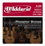EJ39 D'Addario Acoustic Guitar Strings Phosphor Bronze - 12 String Medium 12-52