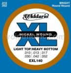 EXL140 D'Addario Electric Guitar Strings - Light Top/Heavy Bottom 10-52