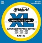 D'Addario EXL125 Electric Guitar Strings - Super Light Top/Regular Bottom 9-46