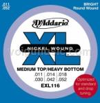 EXL116 D'Addario Electric Guitar Strings - Medium Top/Heavey Bottom 11-52