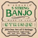 J60 D'Addario Banjo Strings - 5 String Set Light