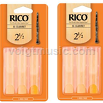 Clarnet Reeds - Rico - Pack of Six - # 2.5