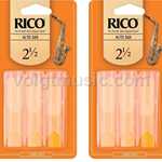 Saxophone (Alto) Reeds - Rico - Pack of Six - # 2.5