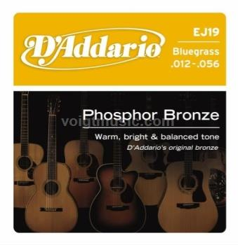 D'Addario EJ19 Acoustic Guitar Strings Phosphor Bronze - Bluegrass 12-56