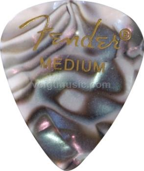 Fender 0980351857 Medium Celluloid Picks - Abalone Moto - Pack of 12