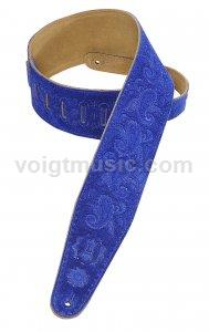 "Levy's PMS44T03RBLU 3"" Royal Blue Suede Paisley Tooled Leather Guitar Strap"